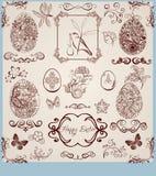 Stilisiert Ostern-Set der Weinlese Stockfotos