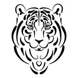Stilisiert Schattenbild des Tigers, Symboljahr Stockfotografie