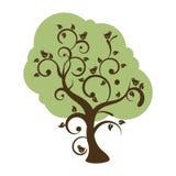 Stilisiert swirly Baum mit den singenden Vögeln Stockfotos