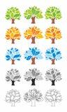 Stilisiert vektorbäume gefärbt schaltung Stockfotos