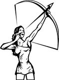 Stilisiert weiblicher Bogenschütze Lizenzfreies Stockfoto