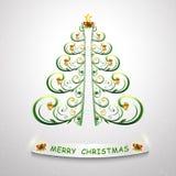 Stilisiert Weihnachtsbaum Auch im corel abgehobenen Betrag Modischer Weihnachtsbaum für Entwurf stock abbildung