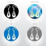 Stilisiert Zeichen von baumeln Ohrringe Lizenzfreies Stockbild
