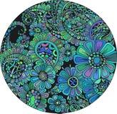 Stilisierte abstrakte Blumenwellenmit blumenverzierungen Lizenzfreie Stockfotografie
