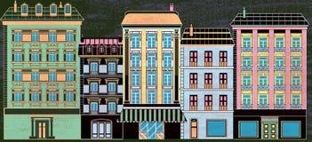 Stilisierte alte Häuser Stockbild