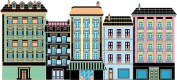 Stilisierte alte Häuser Lizenzfreie Stockfotos