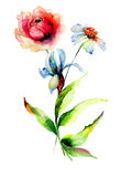 Stilisierte Blumenaquarellillustration Stockbild
