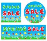Stilisierte bunte Fahnen des Frühlingsverkaufs Stockfoto