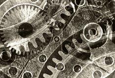 Stilisierte Collage der Zusammenfassung eines mechanischen Gerätes Stockbild