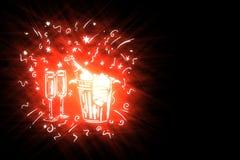 Stilisierte Feiertagssymbole der Illustration auf schwarzem Hintergrund lizenzfreies stockfoto