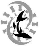Stilisierte Fischtätowierung in Schwarzem und in Grauem stock abbildung