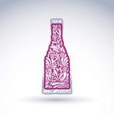 Stilisierte Flasche verziert mit ethnischem Blumenmuster Alkoholidentifikation vektor abbildung