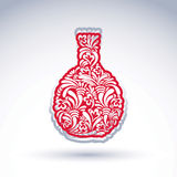 Stilisierte Flasche verziert mit ethnischem Vektorblumenmuster lizenzfreie abbildung