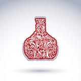 Stilisierte Flasche verziert mit Vektorblumenmuster vektor abbildung