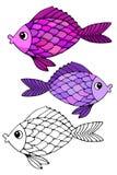 Stilisierte Hand gezeichnete Fische 2 Stockfotografie