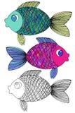 Stilisierte Hand gezeichnete Fische 1 Stockfoto