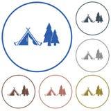 Stilisierte Ikone des touristischen Zeltes Lizenzfreie Stockfotos