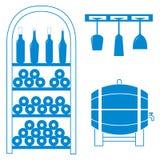 Stilisierte Ikone eines farbigen Weinregals, Flaschen Wein, Wein glas Lizenzfreies Stockfoto
