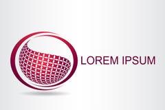 Stilisierte kugelförmige Oberfläche des Logos mit abstrakten Formen Stockfoto