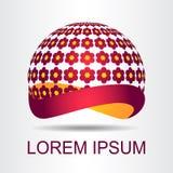 Stilisierte kugelförmige Oberfläche des Logos mit abstrakten Formen Lizenzfreie Stockfotografie