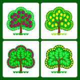 Stilisierte Obstbäume Stockbilder