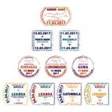 Stilisierte Passstempel der Republik Zentralafrika, Democr lizenzfreie abbildung