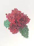 Stilisierte rote Rosen mit bunter Wiedergabe der Knöpfe 3d Lizenzfreie Stockfotos