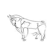 Stilisierte, schwarze Kontur des Stiers auf einem weißen Hintergrund, Tätowierung, Illustration: Lizenzfreie Stockfotos