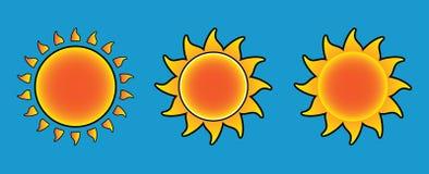 Stilisierte Sonne drei Stockfotos