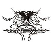 Stilisierte symmetrische Vignette mit Pferden Stockbild