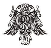 Stilisierte symmetrische Vignette mit Vögeln Stockfotografie