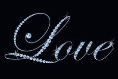 Stilisierte Text Liebe gemacht von den Diamanten Konzept für die Heirat, Feier, Valentinsgruß ` s Tag Lizenzfreie Stockfotos