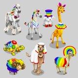 Stilisierte Tiere des Vektors mit Regenbogendekoration Lizenzfreie Stockfotografie