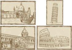 Stilisierte Tintenzeichnung alter Italien-Karte Lizenzfreies Stockbild