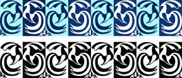 Stilisierte Verzierungen von Pfaus in zwei Farben Stockfotografie