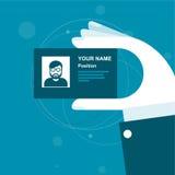 Stilisierte Visitenkarte in der Hand Lizenzfreies Stockfoto