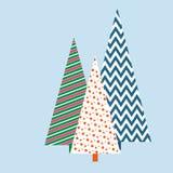 Stilisierte Weihnachtsbäume mit einem festlichen Hintergrund geometrischen Muster Winters für die Karteneinladungs-Schablonenfahn vektor abbildung
