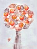 Stilisierter abstrakter Baum mit den Apfelfrüchten lokalisiert auf Grau Stockfotografie
