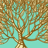 Stilisierter abstrakter brauner Baum Kunstillustration Lizenzfreie Stockfotografie