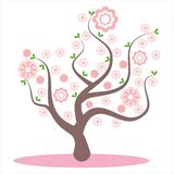 Stilisierter, abstrakter Frühlingsbaum Blumen auf den Niederlassungen, Blumen auf dem Baum Kirschblüte-Blüte, rosa schöne Blumen, lizenzfreie abbildung