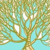 Stilisierter abstrakter grüner Baum Kunstillustration Stockbild