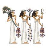 Stilisierter alter Kulturhintergrund Wandgemälde mit altes Ägypten-Szene Stockbild