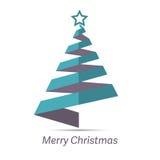 Stilisierter Band Weihnachtsbaum mit grünem Stern Stockfotografie