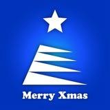 Stilisierter Baum der weißen Weihnacht mit einem weißen Stern Stockbilder