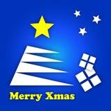 Stilisierter Baum der weißen Weihnacht mit Geschenken und Sternen Stockfoto