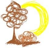 Stilisierter Baum in der Wiese mit der Sonne lokalisiert Stockfoto