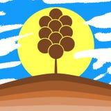 Stilisierter Baum in der Wiese mit Sonne Lizenzfreie Stockfotos