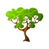 Stilisierter Baum der Zusammenfassung mit Blättern natürliche Illustration Stockfoto