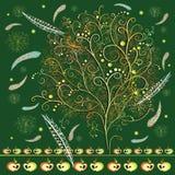 Stilisierter Baum der Zusammenfassung mit Federn Lizenzfreie Stockbilder