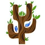 Stilisierter Baum der Zusammenfassung mit Singvogel Stockfoto